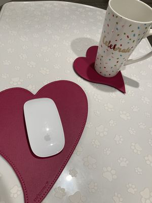 Heart shaped mouse pad with coaster for Sale in Glendora, CA