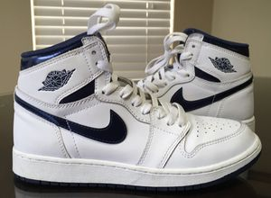 Size 5.5 youth y girls boys women's Nike air Jordan 1 retro metallic navy white blue basketball sneakers shoe for Sale in Selma, CA