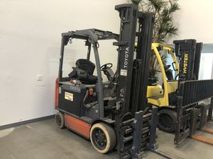 "(2) 2014 Toyota Electric Forklifts For Sale Batteries are in pretty good shape 220"" of lift with Right Line Single Double Attachments for Sale in Phoenix, AZ"