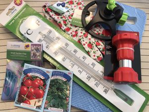 Big Spring Gardening Bundle - canvas gloves, seeds, big thermometer, sprinkler, Garden flag & more for Sale in Indianapolis, IN