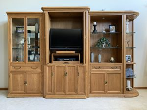 Oak cabinet entertainment center glass book shelf Curio quarter storage with drawers for Sale in Lewis Center, OH
