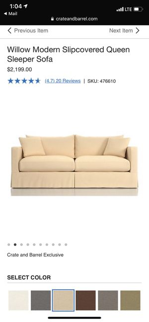 Crate and barrel Willow pull out sofa bed couch for Sale in Washington, DC