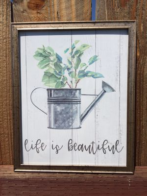 """Beautiful Gold frame with flower pot says """"life is beautiful"""" for Sale in Fontana, CA"""