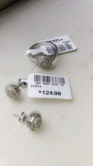 Sterling Silver And Tw Diamond Ring With Matching Earrings for Sale in Arlington, TN