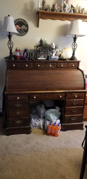 Ethan Allen Pine Roll Top Desk for Sale in Rockland, MA