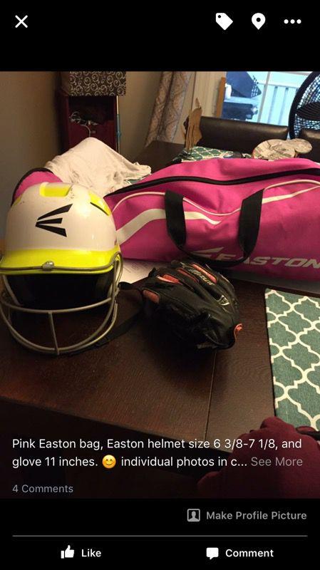 Girls softball helmet, bat bag and glove
