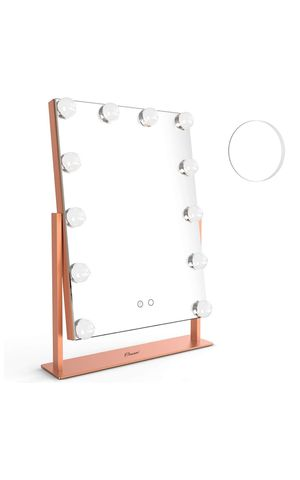OVONNI LED Lighted Vanity Hollywood Makeup Mirror, Dimmable 360° Rotating Double-Sided Tabletop Cosmetic Mirror 12 Bulbs, Two Color Light (Rose Gold) for Sale in San Bernardino, CA