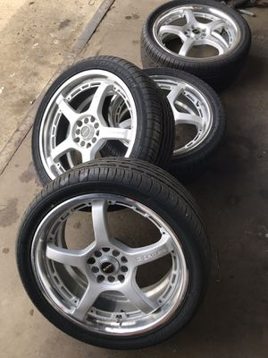 Rays G-Games 2 piece staggered wheels 18x8 & 18x7.5 5x114 NEW TIRES for Sale in Columbus, OH