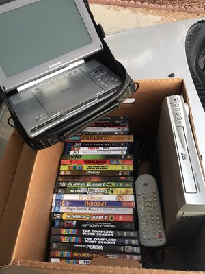 Box of DVDs & Portable player (perfect for road trips) for Sale in San Marcos, CA