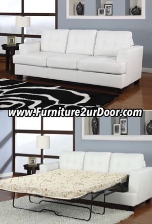 New White Bonded Leather Sofa Sleeper Couch w/ Queen Size Mattress for Sale in Orange, CA