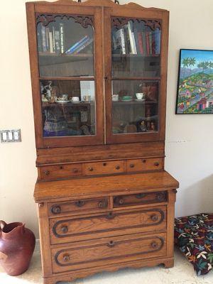 Antique Oak secretary desk china display buffet book shelf glass curio for Sale in Phoenix, AZ