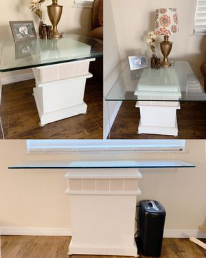 2 white end tables + 1 console table for Sale in New Port Richey, FL