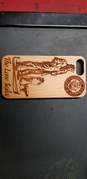 The Lone Sailor US Navy design laser engraved wood case for iPhone and Samsung Galaxy for Sale in Newport Beach, CA