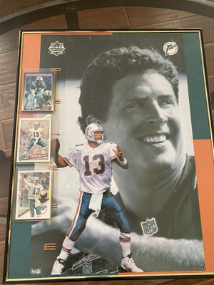 Large Marino picture in frame with 3 sports cards for Sale in Pinellas Park, FL