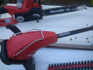 Homelite electric weed eater brand new 16in eletric chain saw and 17 in hedge trimmwer all eletric for Sale in Moreno Valley, CA