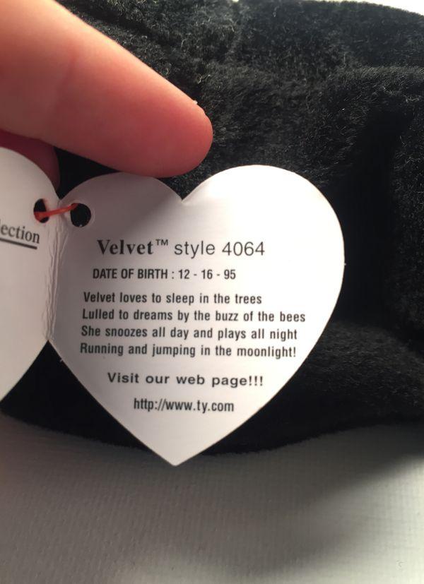 Ty Beanie Original Baby, Velvet 🐈
