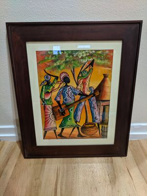 South African Painting on Canvas w/Frame for Sale in Los Angeles, CA