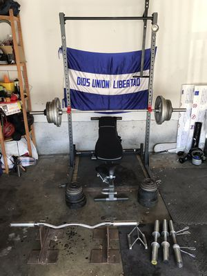 SQUAT RACK/PULL UP BAR /ADJUSTABLE BENCH PRESS/OLYMPIC WEIGHTS/EQUIPMENT for Sale in Tustin, CA