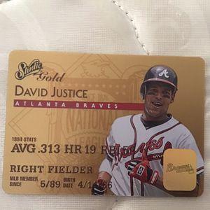 1995 Donruss Studi Gold David Justice Plastic Baseball Card for Sale in Marietta, GA