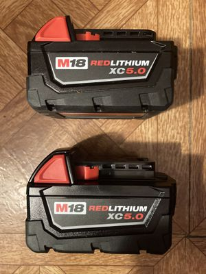 Milwaukee. M18 Lithium Ion 2-Piece XC 5.0Ah Battery Pack. for Sale in Brooklyn, NY