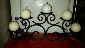 Partylite hearthside pillar candle holder & 6 candles for Sale in Lynnwood, WA