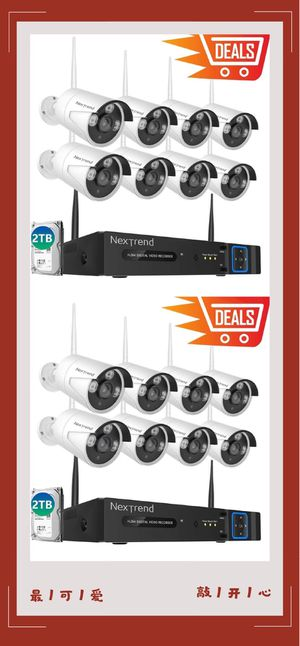 1080P Wireless Security Camera System with 2TB Hard Drive, NexTrend 8Pcs 1080P Ourdoor Security Camera with Night Vision for Sale in Alhambra, CA
