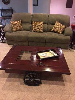 Vintage table on steel wheels for Sale in Ashburn, VA