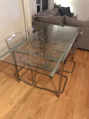 Contemporary Glass and metal (expandable) Kitchen table with 4 chairs for Sale in Greenwood Village, CO
