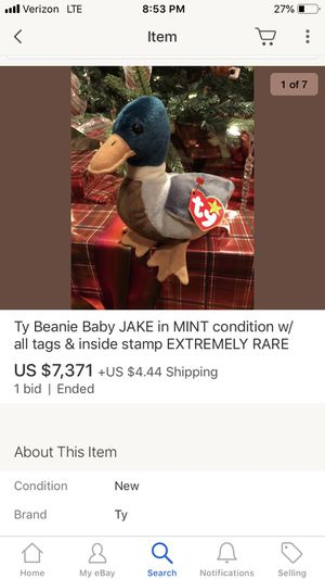 $7000 beanie baby Jake Extremely Rare Vintage 90's for Sale in Centreville, VA