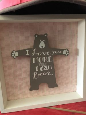Cute kids room Bear 3D shadow box style wall picture pink / brown for Sale in Wildomar, CA