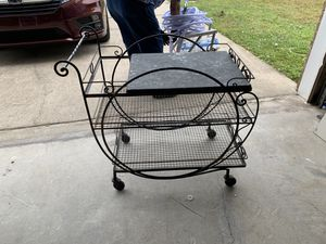 Iron serving cart. 3 shelves, top shel is marble for Sale in Gulf Breeze, FL