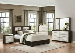 Pell White/Espresso Panel Bookcase Bedroom Set for Sale in Houston, TX