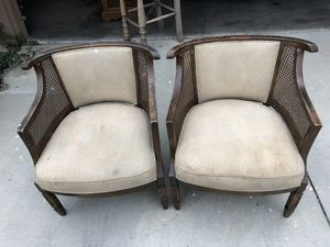 Two cream colored chairs antique for Sale in Huntington Beach, CA