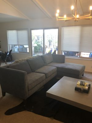 Like new Sectional velvet blue couch for Sale in Campbell, CA
