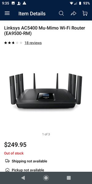 Linksys AC5400 Mu-Mimo Wi-Fi Router (EA9500-RM) for Sale in Houston, TX