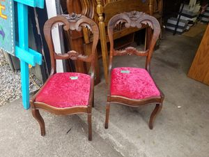 Pair of antique chairs with red velvet seats. In excellent condition for Sale in Portland, OR