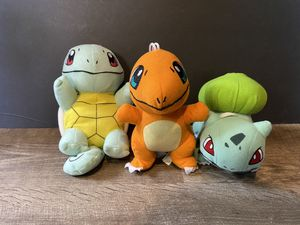 Pokémon plushies Charmander Squirtle Bulbasaur for Sale in Baldwin Park, CA