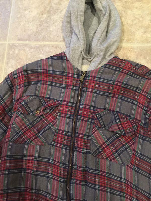 Men's hoodie flannel jacket