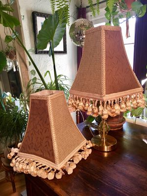 Boho Chic Pair Of Velvet Paneled Lampshades With Tassel Fringe and Matching Trim Shabby Chic Lamp Home Decor - Pick Up LA or OC for Sale in Los Angeles, CA