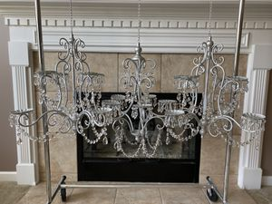 Set Of 3 Matching Metallic Silver Garden , Wedding , Or Indoor Pillar Candle Crystal Chandeliers for Sale in Huntley, IL