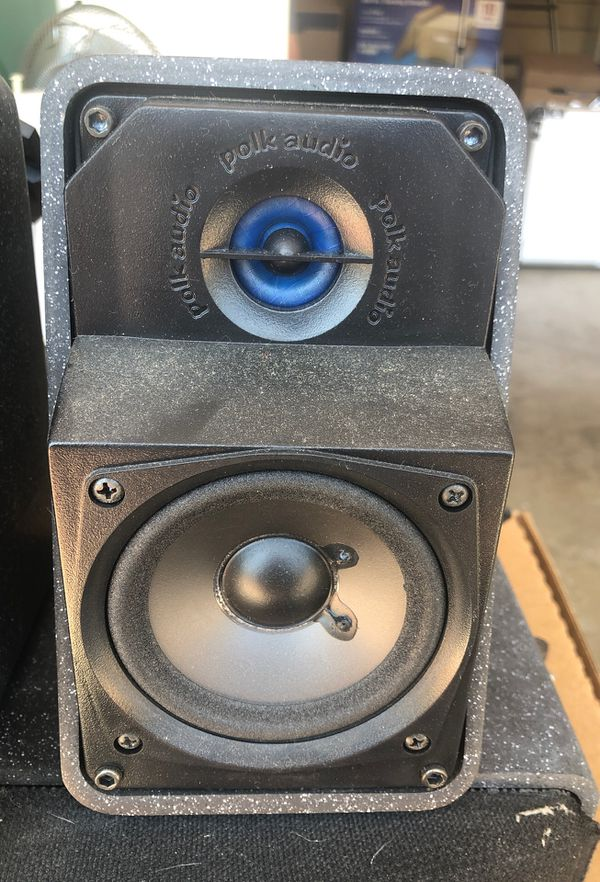 Set of 5 Polk Audio surround sound speakers with wall brackets