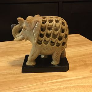 """Carved Soapstone Elephant With Baby Inside, on a pedestal (5"""" tall) for Sale in District Heights, MD"""