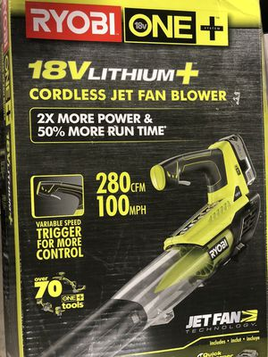 ONE+ 100 MPH 280 CFM VARIABLE-SPEED 18-VOLT LITHIUM-ION CORDLESS JET FAN LEAF BLOWER 4AH BATTERY AND CHARGER INCLUDED for Sale in Houston, TX