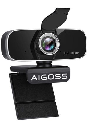 Aigoss 1080P Webcam with Microphone, Computer Camera with Cover, USB Webcam for Video Calling Recording Conferencing Gaming with Built in Mic/Flexibl for Sale in Brooklyn, NY