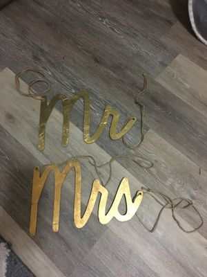 $15 Mr & Mrs hanging sign from chairs. Purchased from Michaels for Sale in Sunnyvale, CA