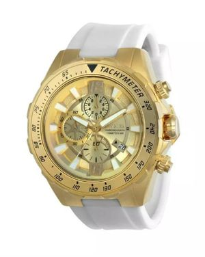 MEN'S BRAND NEW BIG FACE LUXURY INVICTA GOLD TONE & WHITE SILICONE STRAP BAND CHRONOGRAPH WATCH. for Sale in Hazard, CA
