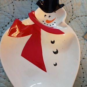 Snowman Platter. Decor. 10dll for Sale in Houston, TX