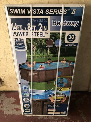 Bestway 14ft x 8ft x 40 inch Power Steel Swim Vista Swimming Pool Set with Pump for Sale in Spring Valley, CA