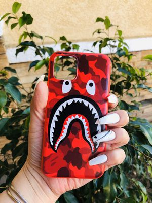 Brand new cool iphone 11 PRO case cover rubber red aape bape camo army shark mens guys hypebeast hypebae womens girls hype swag for Sale in San Bernardino, CA