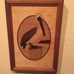Hudson River Inlay Framed Wood Pelican for Sale in Des Moines, WA